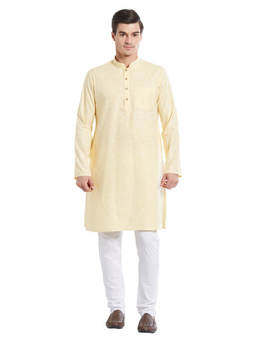 Yellow Color Pure Cotton Kurta Pyjama - IP1719