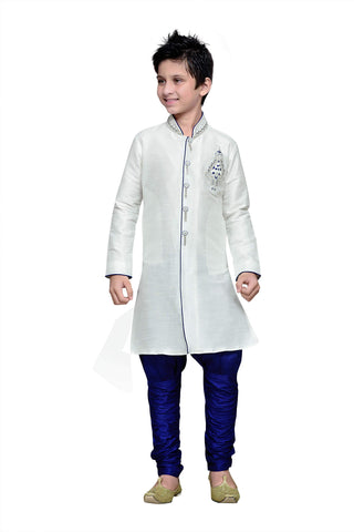 White Color Art Silk Kurta Pyjama - IP171