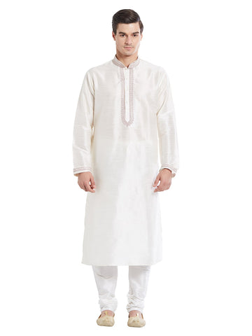 Cream Color Silk Blend Kurta Pyjama - IP1720
