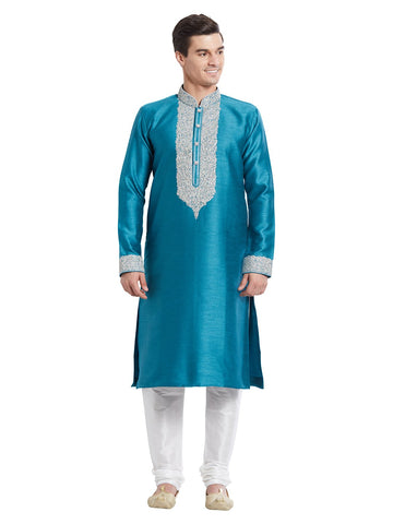 Green Color Silk Blend Kurta Pyjama - IP1721