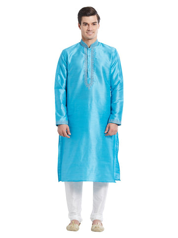 Blue Color Silk Blend Kurta Pyjama - IP1723