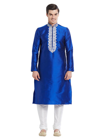 Blue Color Silk Blend Kurta Pyjama - IP1724