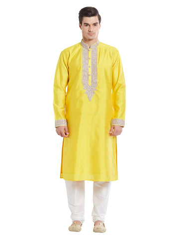 Yellow Color Silk Blend Kurta Pyjama - IP1725
