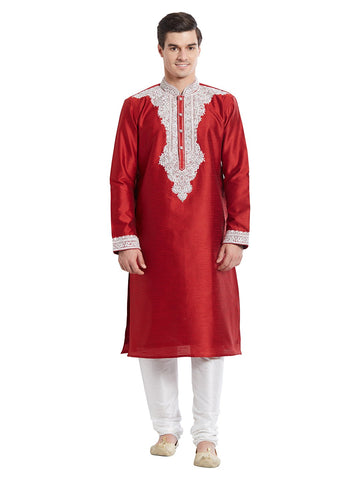 Maroon Color Silk Blend Kurta Pyjama - IP1726