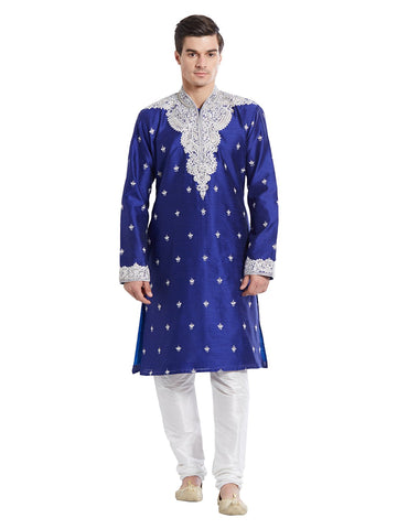Blue Color Silk Blend Kurta Pyjama - IP1730