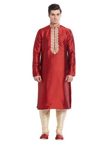 Maroon Color Silk Blend Kurta Pyjama - IP1734