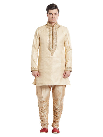 Gold Color Silk Blend Kurta Pyjama - IP1735