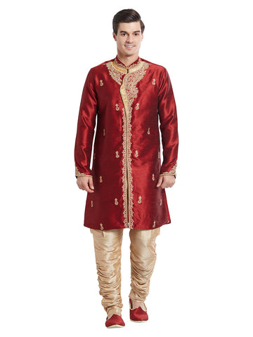 Maroon Color Silk Blend Kurta Pyjama - IP1737
