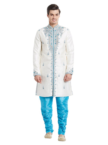 White Color Silk Blend Kurta Pyjama - IP1738
