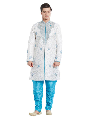White Color Silk Blend Kurta Pyjama - IP1739