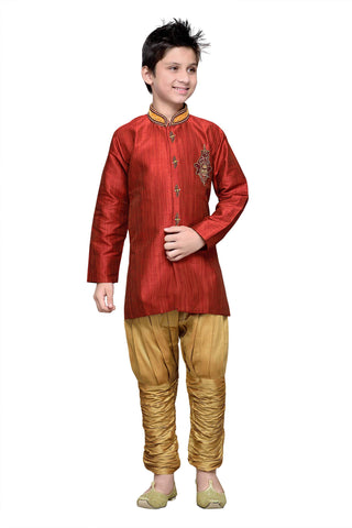 Maroon Color Art Silk Kurta Pyjama - IP173
