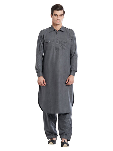 Grey Color Silk Blend Kurta Pyjama - IP1740
