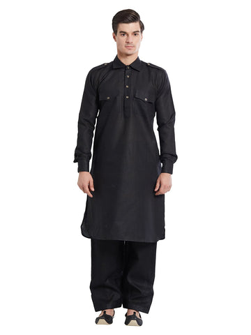 Black Color Linen Kurta Pyjama - IP1741