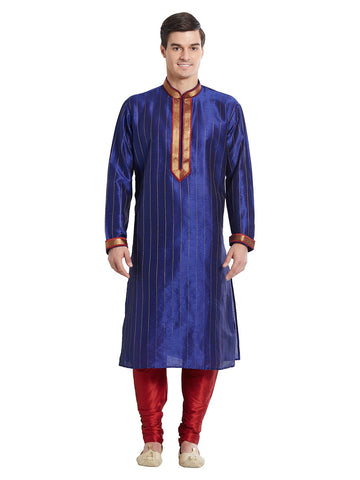 Navy Blue Color Silk Blend Kurta Pyjama - IP1743