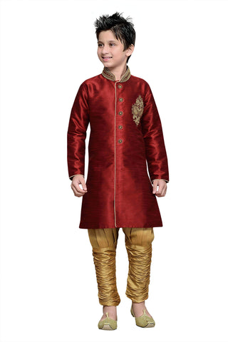Maroon Color Art Silk Kurta Pyjama - IP176