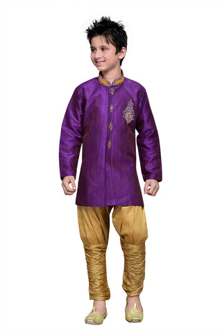 Purple Color Art Silk Kurta Pyjama - IP177