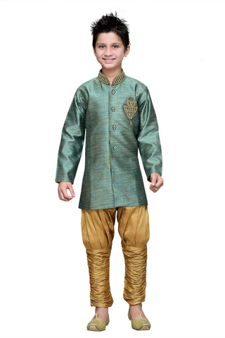 Rama Green Color Art Silk Kurta Pyjama - IP178