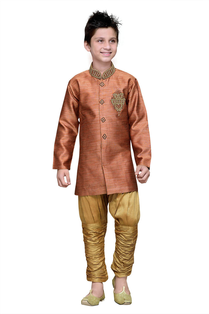 Rust Color Art Silk Kurta Pyjama