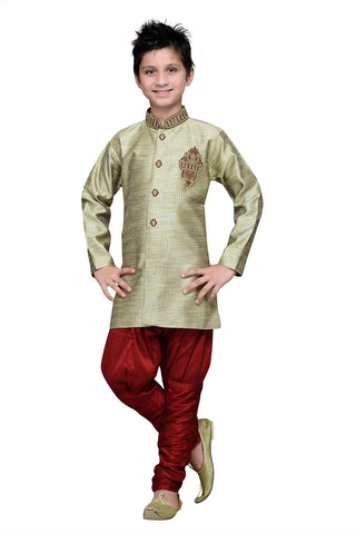 Ivory Color Art Silk Kurta Pyjama - IP180