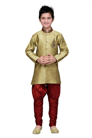 Gold Color Art Silk Kurta Pyjama - IP181