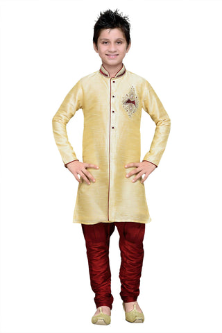 Gold Color Art Silk Kurta Pyjama - IP182
