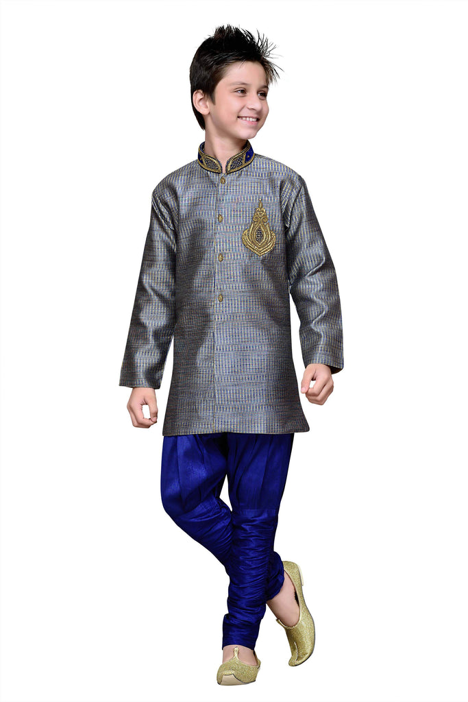 Blue Color Art Silk Kurta Pyjama