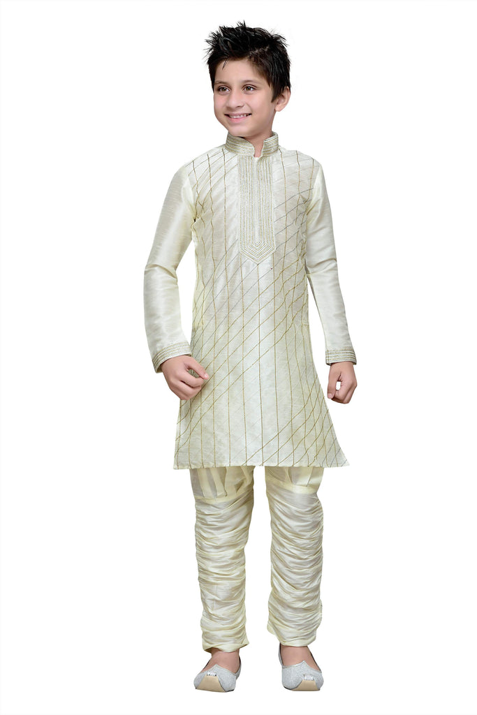 Cream Color Art Silk Kurta Pyjama