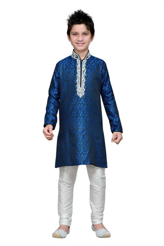 Blue Color Brocade Kurta Pyjama - IP187