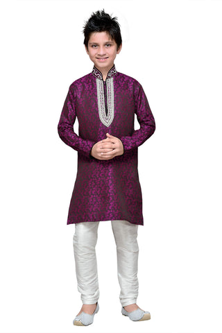 Purple Color Brocade Kurta Pyjama - IP188