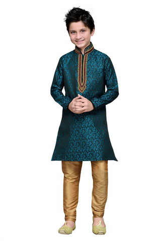 Rama Green Color Brocade Kurta Pyjama - IP189
