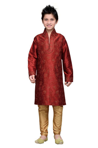 Maroon Color Art Silk Kurta Pyjama - IP190