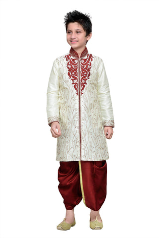 Cream Color Art Silk Kurta Pyjama - IP191