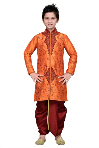 Orange Color Art Silk Kurta Pyjama - IP192