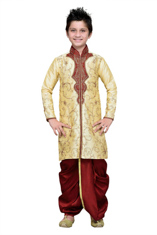 Gold Color Art Silk Kurta Pyjama - IP193