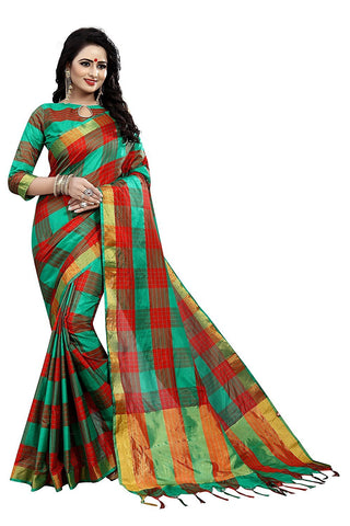 Green and Red Color Ikkat Silk Saree  - IS-2-GREEN-RED