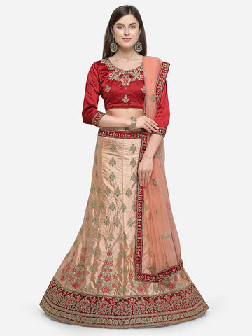 Maroon Color Silk Satin Women's Semi Stitched Lehenga - ISBLA34201