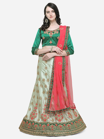 Green Color Silk Satin Women's Semi Stitched Lehenga - ISBLA34203