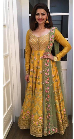 Light Green And Yellow Color Bangalori Silk Salwar - IV-01