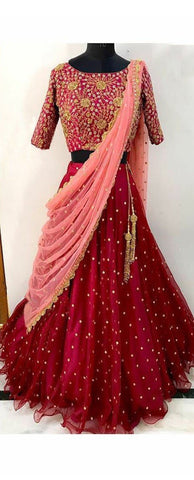 Maroon Color Soft Mono Net Lehenga - IV-04