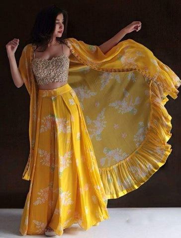 Yellow Color Kum Kum Silk Lehenga - IV-06