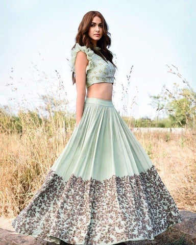 Ice Blue Color Kum Kum Silk Lehenga - IV-07