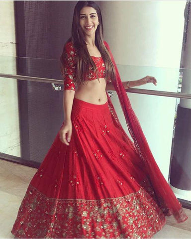 Red Color Kum Kum Silk Lehenga - IV-09