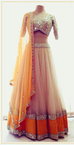 Light Orange Color Net Lehenga - IV-16