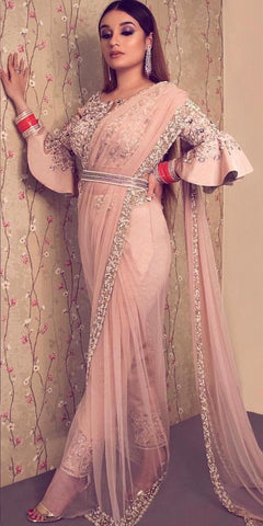 Baby Pink Color Soft Net Saree - IV-17