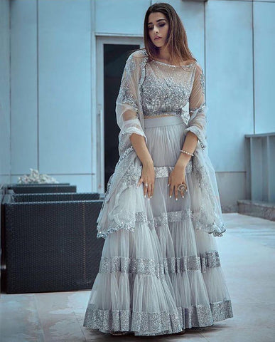 Light Grey Color Butterfly Net Lehenga - IV-19