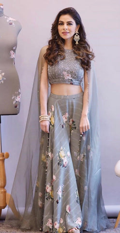 Grey Color Heavy Cotton Silk Lehenga - IV-28