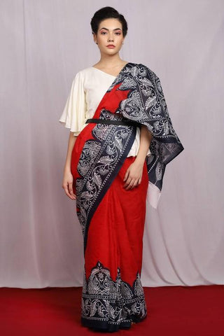 Red and Black Color Pure Cotton Women's Saree - J002