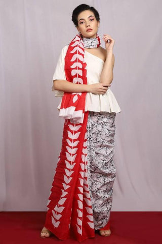 White and Red Color Pure Cotton Women's Saree - J004
