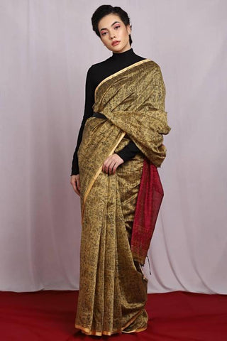 Beige and Magenta Color Jute Cotton Women's Saree - J006