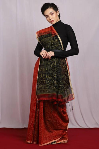 Black and Red Color Jute Cotton Women's Saree - J007